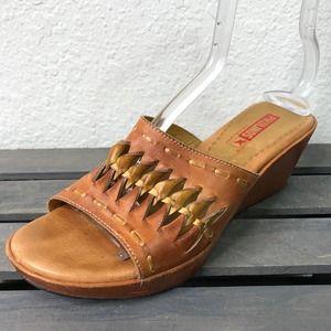 Pikolinos Brandy Wedge Slides Sandals Brown
